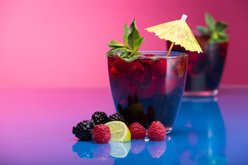 Raspberry and blackberry cocktail with mint garnish. Studio shot