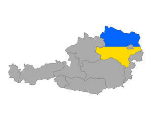 Karte von Österreich mit Fahne von Niederösterreich