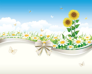 Floral design with daisies and sunflowers