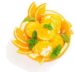 Orange sundae, view from above