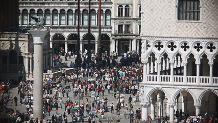 Aerial view of a crowd of tourist in Venice, St. Mark's square