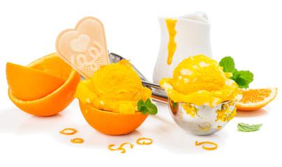Ice cream and orange
