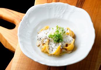 Italian pumpkin ravioli tortellini with Porcini mushrooms