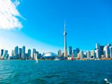 Toronto city skyline from the ferry travels to center island