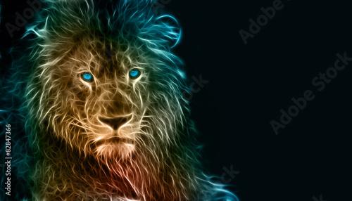 Fantasy cyfrowa sztuka lwa