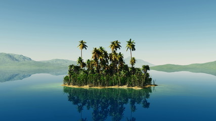 aerial fly shot of beautiful island with a palm tree at ocean