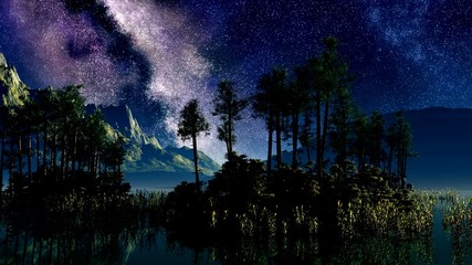 timelapse stars above a lake with islands