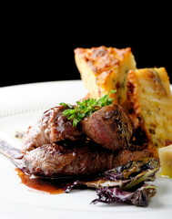 Venison meat steak with potato and vegetable