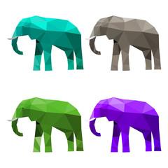 set of bright abstract geometric polygonal triangular elephant
