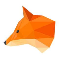 Isolated abstract polygonal geometric triangle ginger fox head