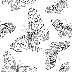 Seamless background with butterflies on white background