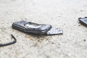 Old broken mobile phone