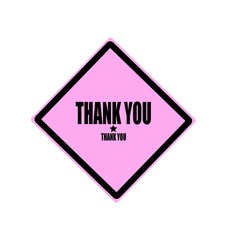 Thank you black stamp text on pink background