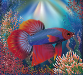 Underwater wallpaper with tropical well fish, vector