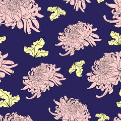 Floral seamless pattern with chrysanthemum on dark blue backgrou