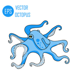 Vector illustration of octopus ocean (octopus and tentacles)