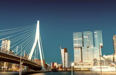 Rotterdam skyline from Erasmus Bridge