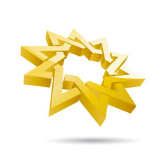Vector sign golden two star crossed