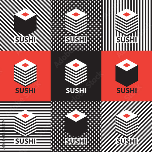 Fototapeta set of abstract banners on the theme of sushi