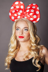 portrait  blonde girl dressed as Minnie Mouse