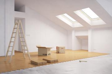 Parkett verlegen beim Ausbau vom Dachboden