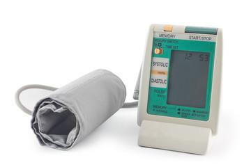 Digital blood pressure machine gauge isolated on white backgroun