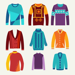 men's knitted sweaters icon set