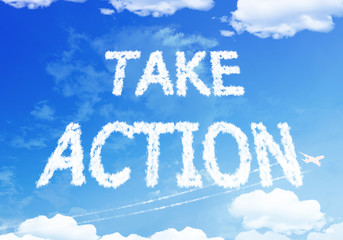 Take action text on the sky.