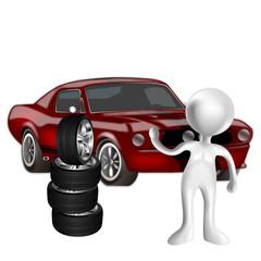 3d Car con monigote mecanico y ruedas
