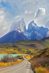 Cliffs of Los Kuernos among the clouds