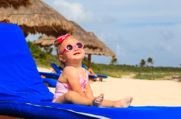 cute little girl on summer beach