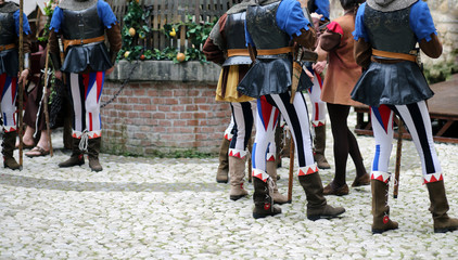 medieval reenactment with soldiers in the castle