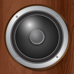 Audio speaker in a wooden plate. Vector