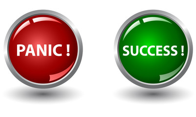 Red panic button  and green success button