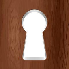 Vector keyhole in a wooden door