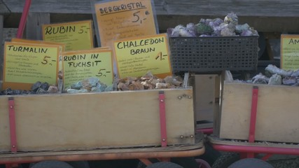 Gemstones in boxes on farmers market