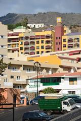 Bright buildings of Puerto de Santiago, Tenerife, Canary, Spain.