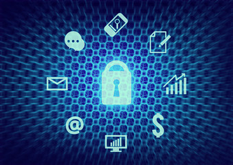 business internet security icon background