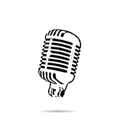 Black silhouette retro stage microphone icon vector