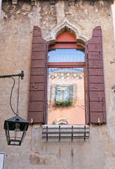 Typical window in Venice Italy