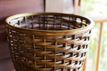 close up of wicker basket