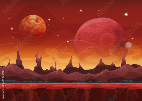 Foto op Aluminium Kosmos Fantasy Sci-fi Martian Background For Ui Game With Mountains