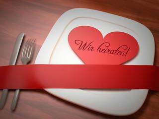 Wir heiraten Hochzeit Essen Menue Gutschein Einladung Karte