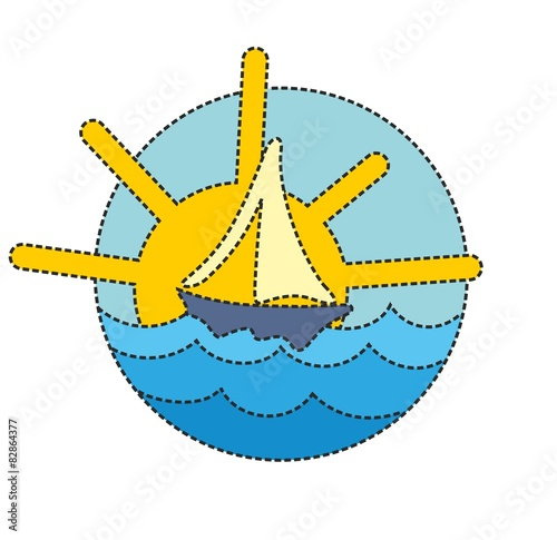 Logo a sailing vessel in the sea.