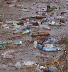 Plastic bottles garbage in river