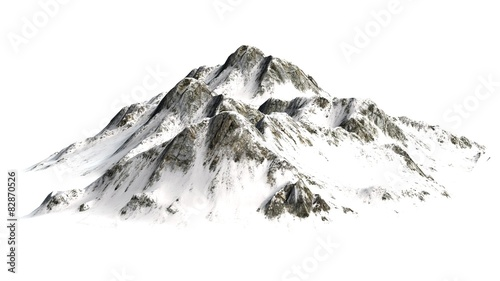 Snowy Mountains peaks separated on white background - 82870526