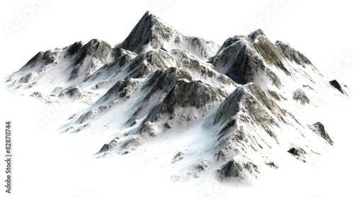 Snowy Mountains peaks separated on white background
