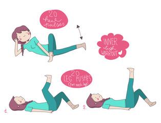 esercizi illustrati ginnastica interno coscia