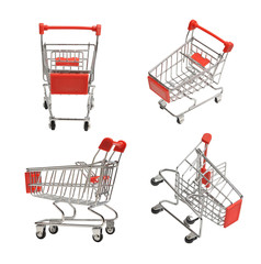 set of four shoping carts isolated on white