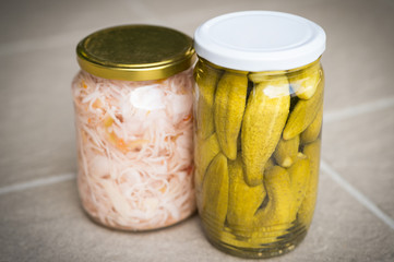 Jars of organic pickled vegetables. Clean eating concept